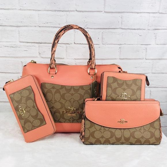Coach Handbags - 4PCS Coach MX Emma Satchel Wallet Clutch Coin Set